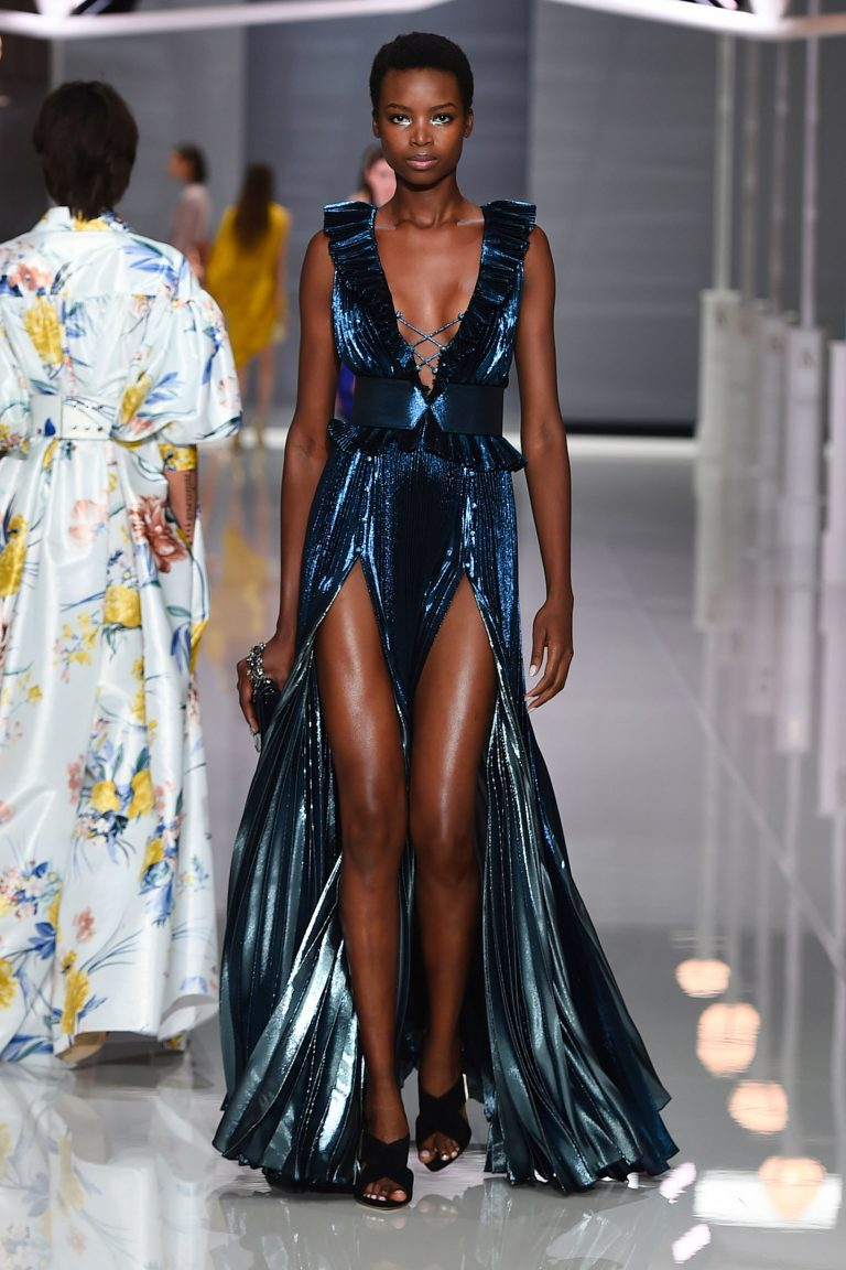 Ralph & Russo Ready-to-Wear Paris - Metallic Midnight Blue Plissé Evening Gown - £15,500
